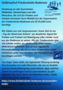Demonstration Friedenskette Bodensee 3 Oktober 2020 Tag der deutschen Einheit