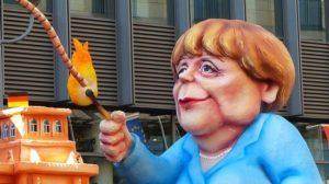 Messe Leipzig Merkel und Entourage Empfang von Demonstranten